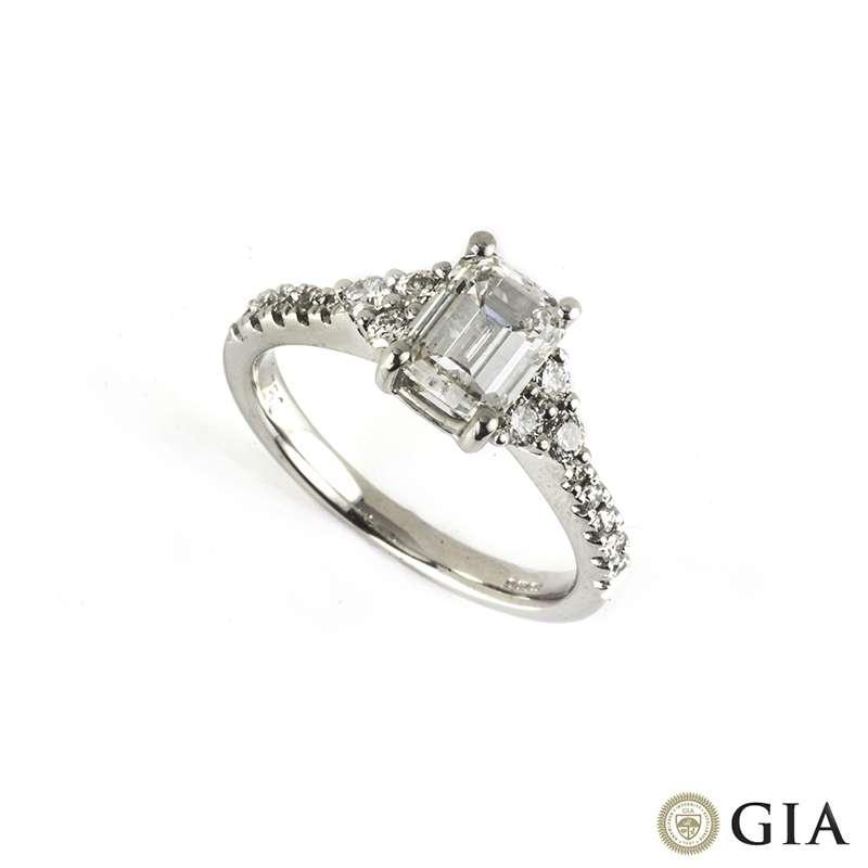 18k White Gold Emerald Cut Diamond Ring 1.33ct G/VS1